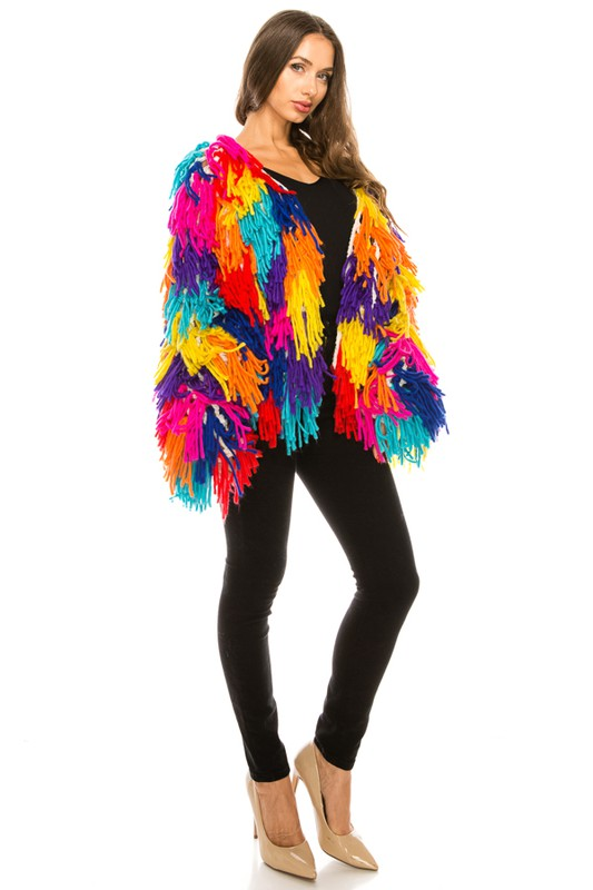 Ava Multi Color Fringe Cardigan