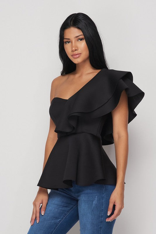 ShyAnn One Shoulder Peplum Top