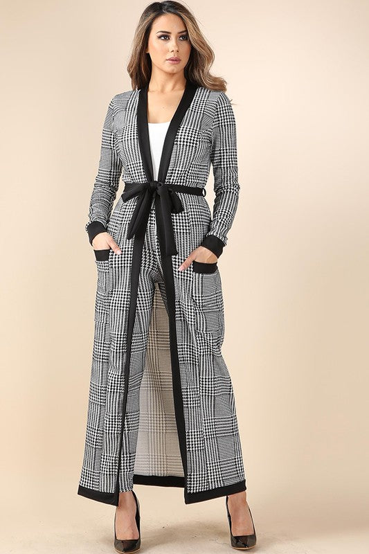 Chelsey Grid Printed Long Jacket 2pc Pants Set