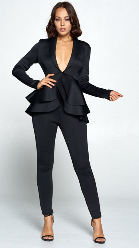 """Black Out"" Peplum 2pc Pants Suit Plus"