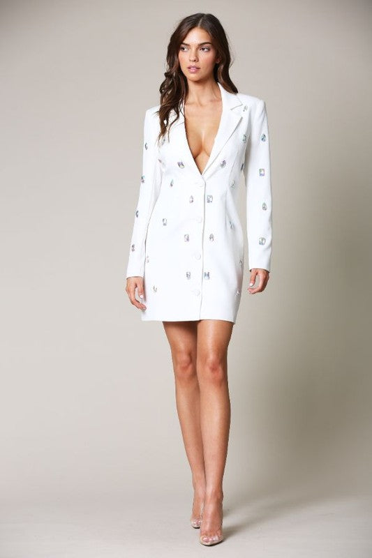 Diamond Studded Blazer Dress