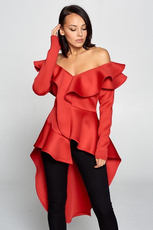 Lonnie Off Shoulder Ruffle Hi Low Top