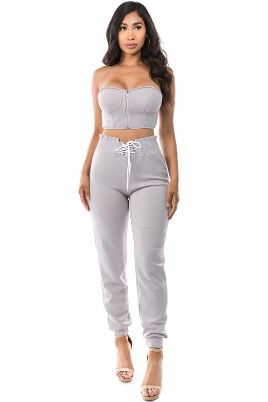 Elsie Lace Up Pants Set