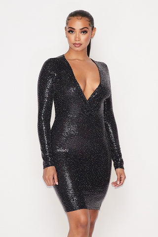 Sparkle V Neck Dress