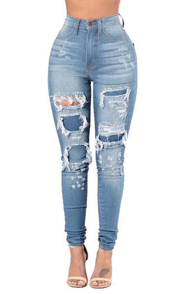 Blazin High Waist Ripped Blue Jean