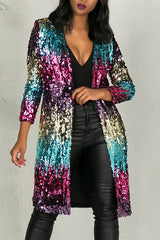 """Pay Attention: Sequins Long Coat"