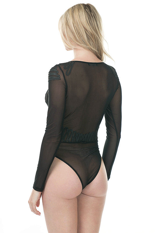 Leather Trim Bodysuit