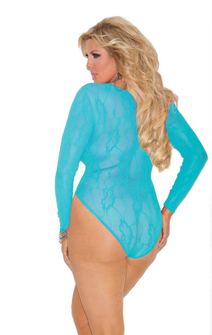 Deep V Stretch Lace Teddy Plus