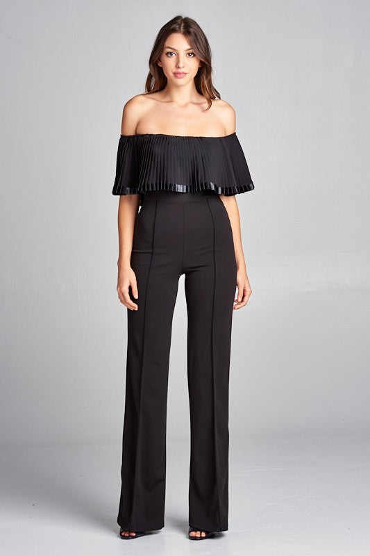 Kimmy Off Shoulder Pleated Jumpsuit