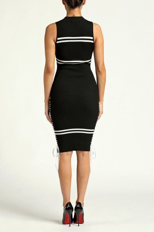 Mya Ribbed Side Tie Dress