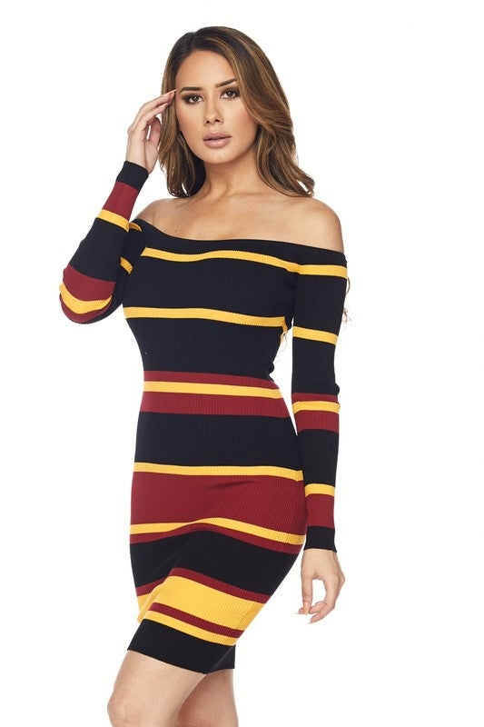 Sidney Off Shoulder Stripe Dress