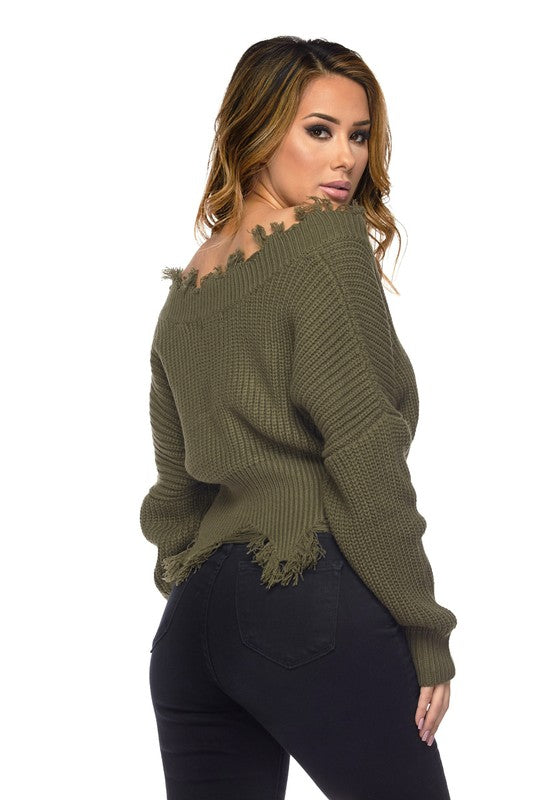 Destiny Distressed V-Neck Crop Sweater