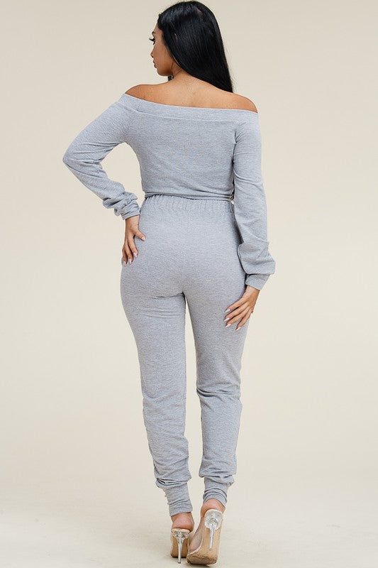 Bri Off The Shoulder Jogger Set
