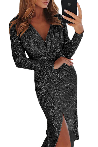 Katy Ann Sequins Wrap Dress