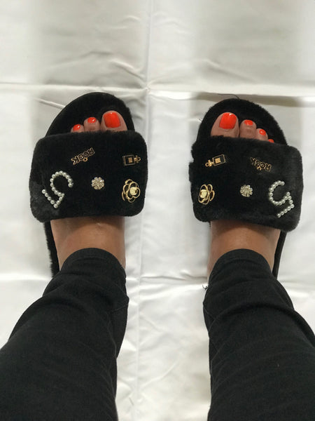 Jewel Fur Slides