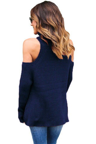 Nikki High Neck Could Shoulder Knit Top