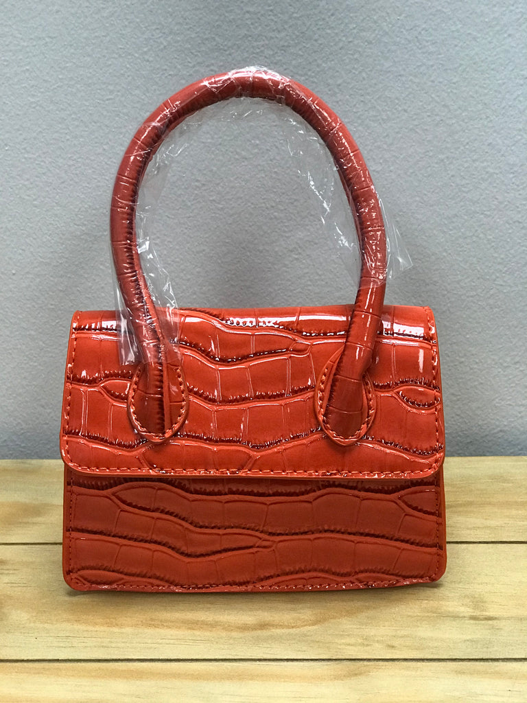 Orange Mini Crocodile Pattern Handbag