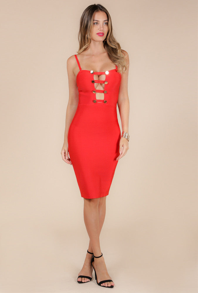 Jolie Spaghetti Strap Bandage Dress