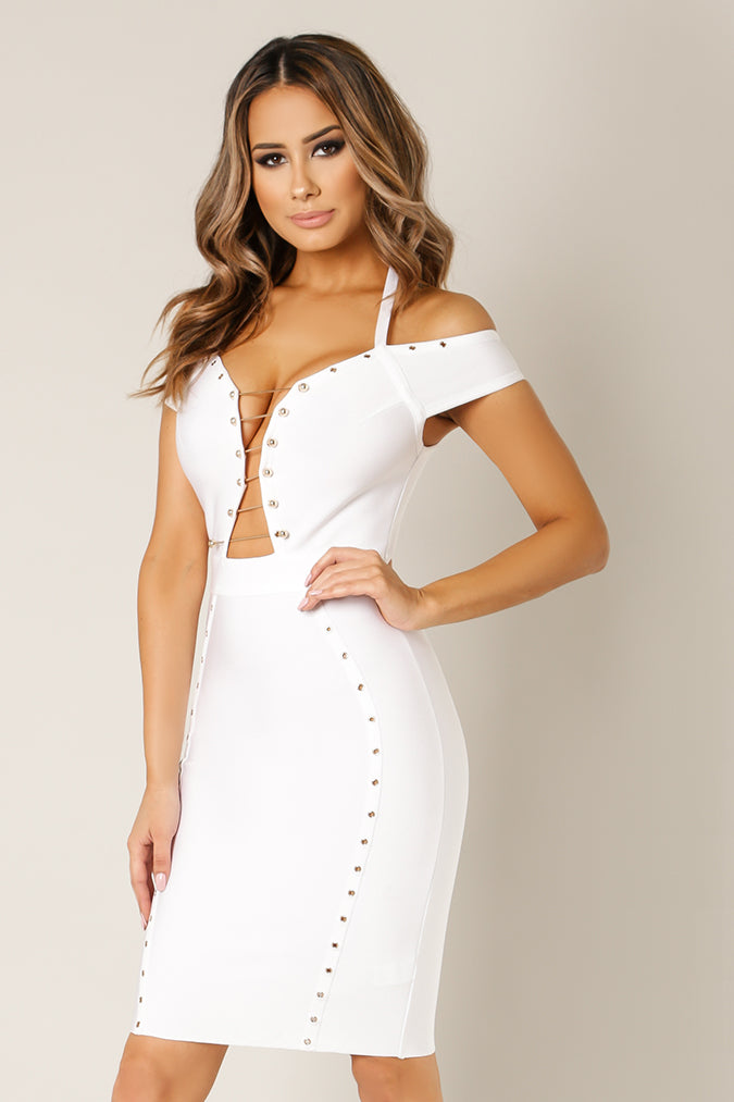 Itallia Metal Trim Off Shoulder Bandage Dress