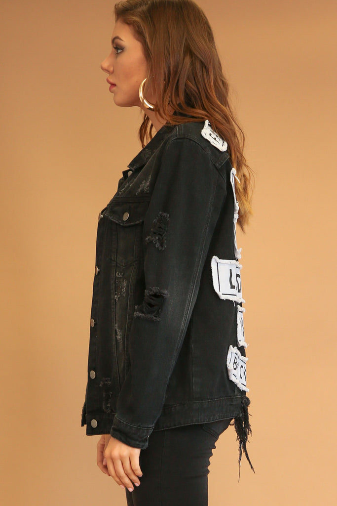 Jennie Destroyed Patched Denim Jacket