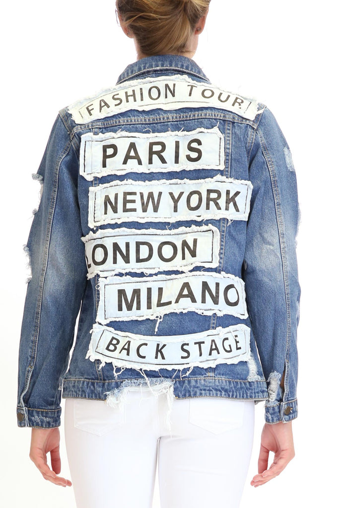 Jennie Blue Jean Destroyed Patched Denim Jacket