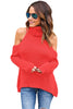 Nikki High Neck Cold Shoulder Knit Top