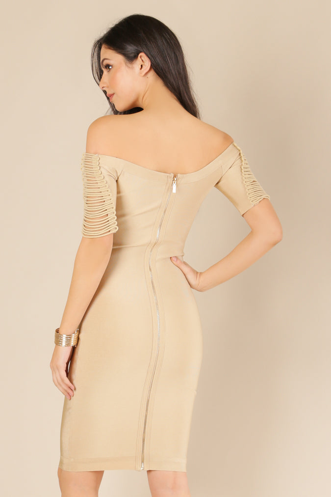 Nancy Off Shoulder Strappy Bandage Dress
