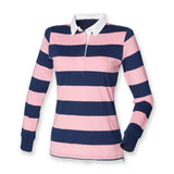 Ladies Womens Long Sleeved Striped Cotton Rugby Shirt Top S-XXL FR111