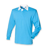 New Gents Long sleeve Plain Front Row Rugby Shirt Top 14 Colours Small - 3XL