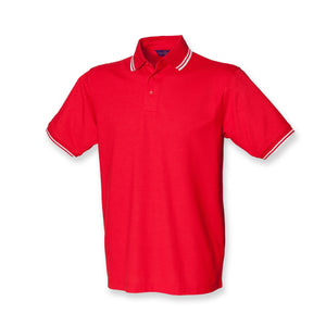 Gents Tipped Polo Shirt Mens Henbury Cotton Mix White Red T-shirt Top H450