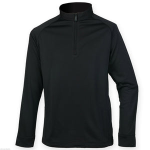 Men's Henbury 1/4 Zip Gent's Top With Wicking Finish Ribbed Micro Fleece Lining H862