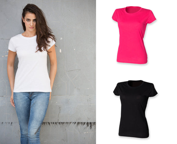 Ladies Cotton Crew Neck T-shirt Short Sleeve Top Black White Pink SK281