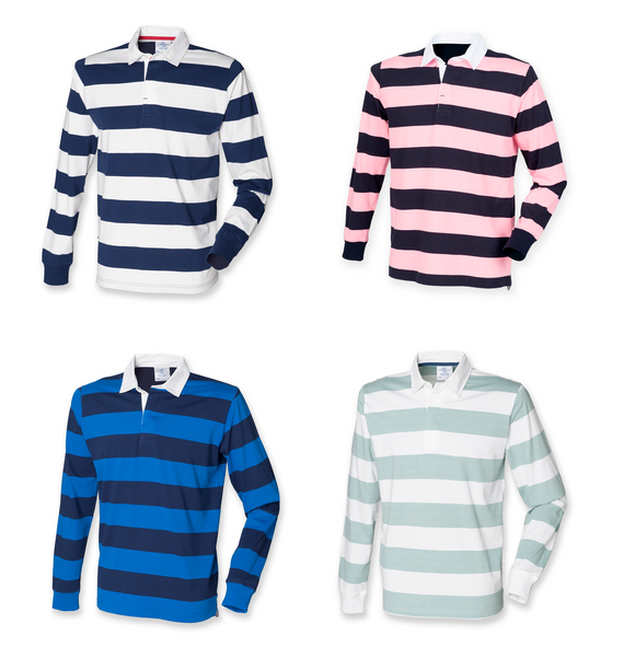 e328c98618f Mens Gents Long Sleeved Striped Cotton Rugby Shirt Top 4 colours S-XXL FR110