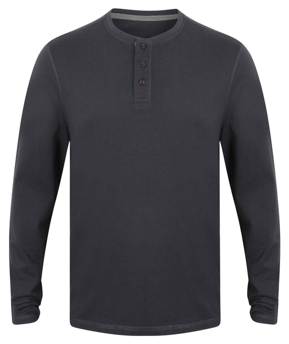 Gent's Washed Long Sleeve Soft Touch Cotton 3 Button T-shirt Men's Top FR130