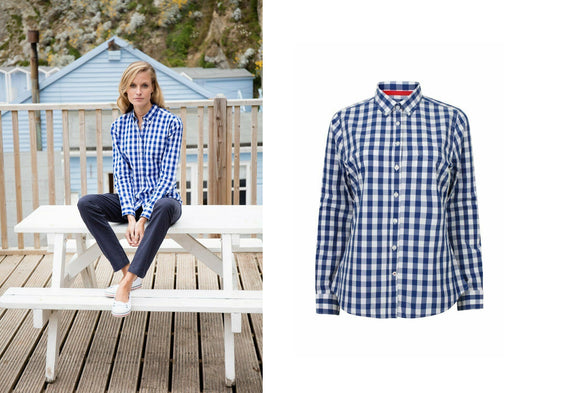 Ladies Semi-Fitted Long Sleeve Cotton Blue Checked Shirt Blouse FR503