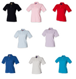 Henbury Ladies Classic Pique Polo Shirt T-Shirt Top in Blue Red Grey H121
