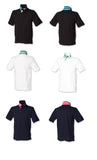 Men's Striped Collar Henbury Cotton Polo Shirt Gents T-shirt Top Navy Black H283