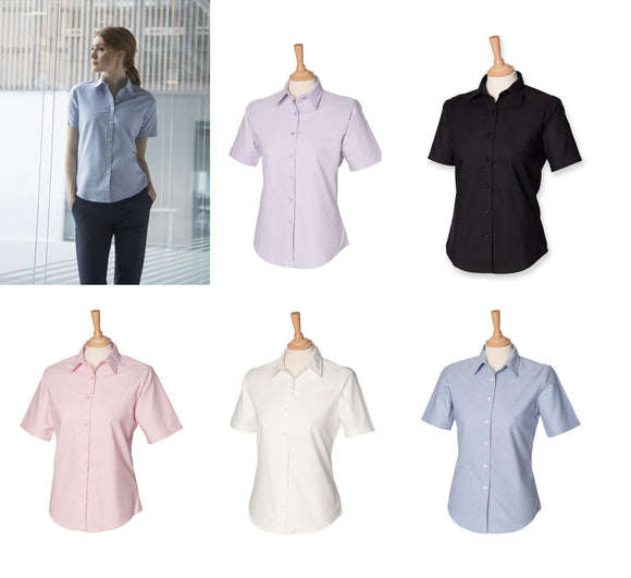 Ladies Henbury Short Sleeve Classic Wrinkle Resistant Cotton Shirt Blouse H516