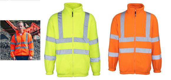 RTY Workwear Men's Full Zip High Visibility Fleece Orange Yellow S-5XL HV072