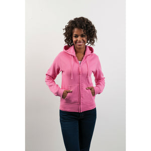 AWDis Ladies Womens Full Zip Cotton Hooded Pink Hoodie Top JH055