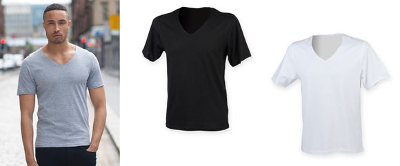 Men's Wide V-Neck Raw Edge Short Sleeve T-Shirt Top SF223