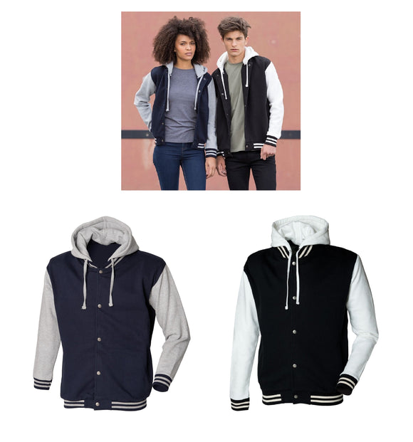 Unisex Heavyweight Cotton Fitted Baseball Jacket With Detachable Hood SF512