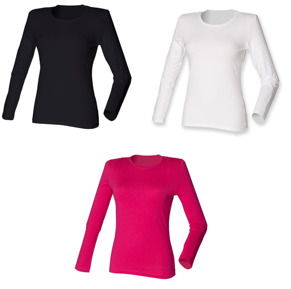 Ladies long sleeve Stretch Cotton T-shirt Women's Crew Neck Top SK111
