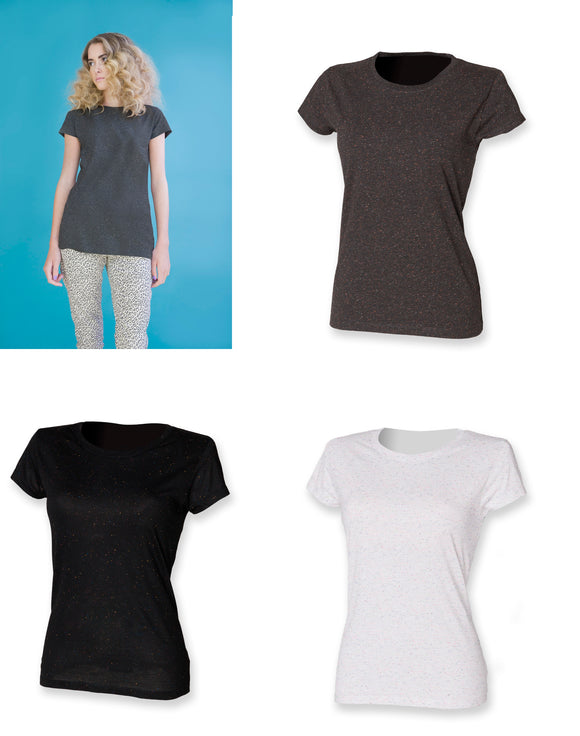 Ladies T Shirt with Coloured Fleck Women's Crew Neck Short Sleeve Top  SK291