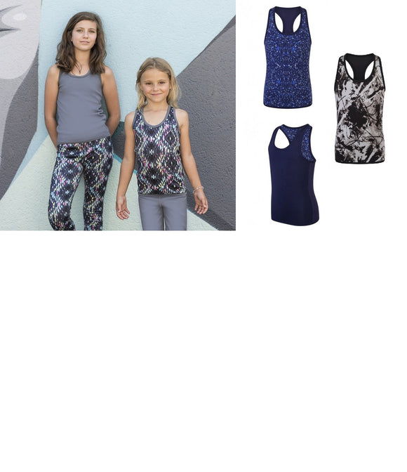Girls Reversible Racer Back Non-Transparent Sleeveless Workout Vest Top SM240