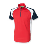 Tombo Team Sports Panel Polo 1/4 Zip Neck Performances TShirt Top TL561
