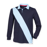 Gents Soft Touch Diagonal Stripe Long Sleeve Front Row Rugby Shirt FR112