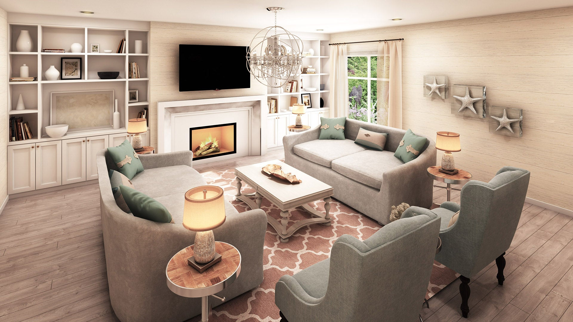 Calm Cool Coastal Living Room DCLuxeDesign