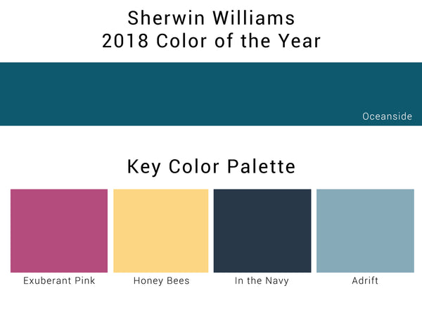 Sherwin Williams 2018 color of year, oceanside, and other key colors