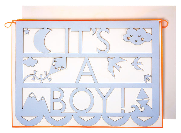 Meri Meri グリーティングカード【It's a boy型抜き】Greeting Card: Ornate Its A Boy Cut Out